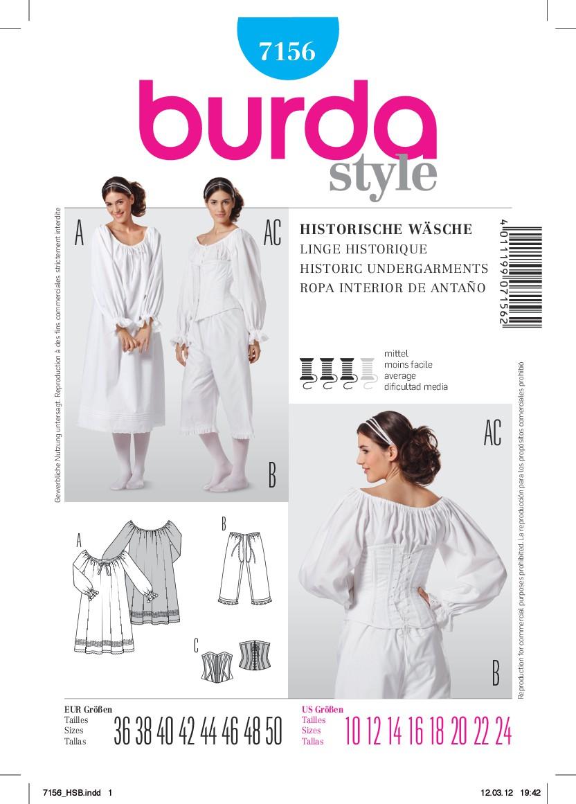 Burda Schnittmuster - Historische Wäsche, Hemd, ¾ Hose und Mieder ...