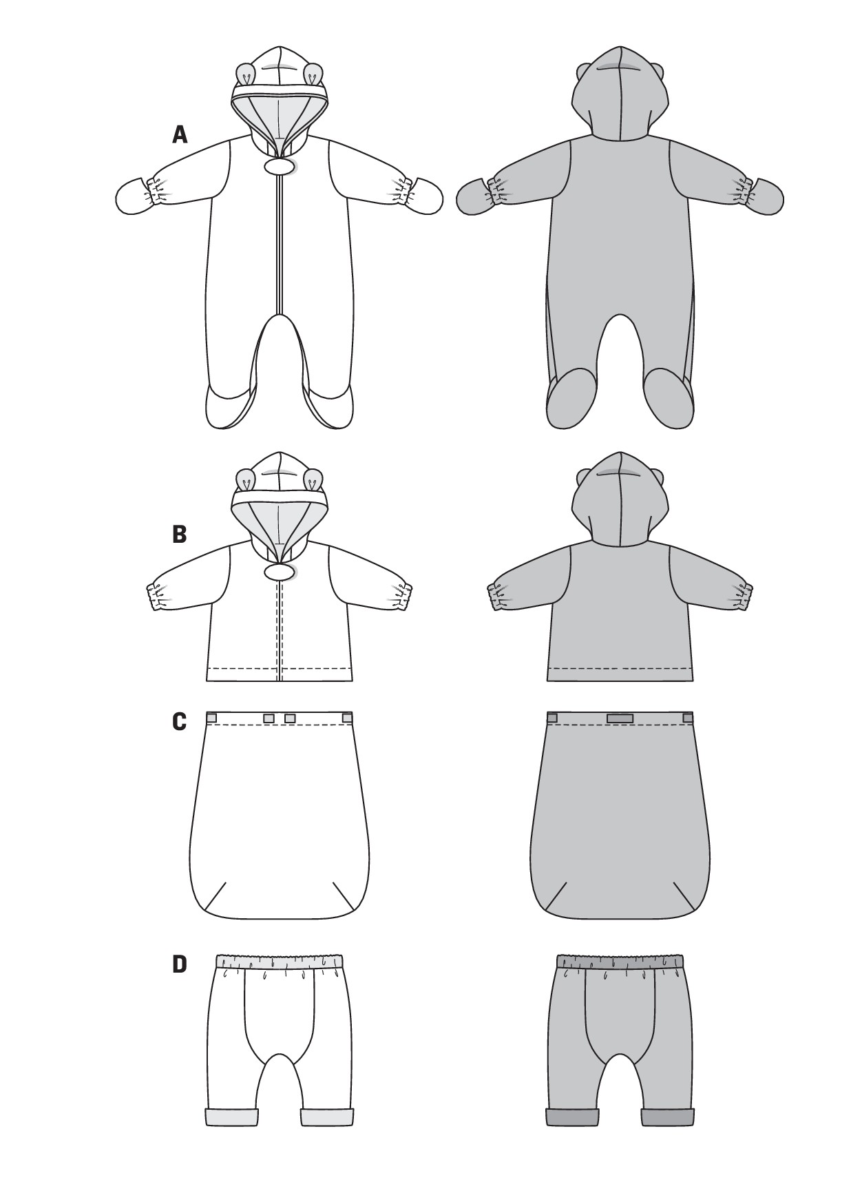 burda schnittmuster baby kombination overall jacke fu sack hose 9478. Black Bedroom Furniture Sets. Home Design Ideas