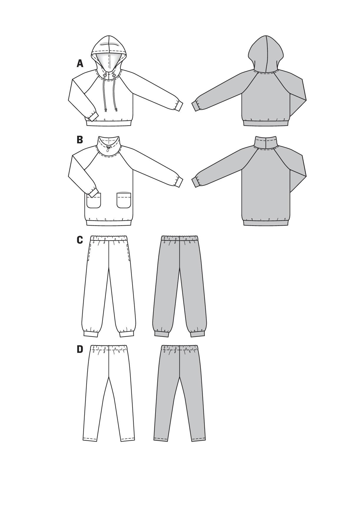 Burda Schnittmuster - Kapuzenshirts, Shirtkleid, Jogginghose ...