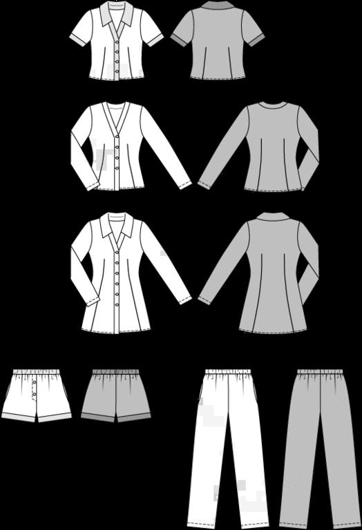 Burda Schnittmuster - Pyjama & Nachthemd (6742) - Kurzwarenland.de