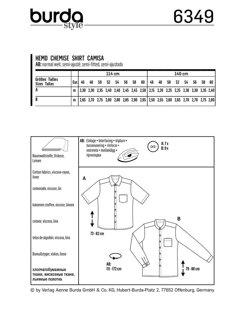 Schnittmuster burda style Herrenhemd – kurzarm – langarm – Hemd mit Stehkragen