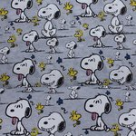 Baumwolljersey Snoopy and Woodstock graumeliert