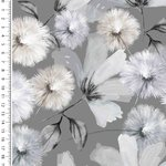 Baumwolljersey Digitaldruck Romantic Flowers Grau
